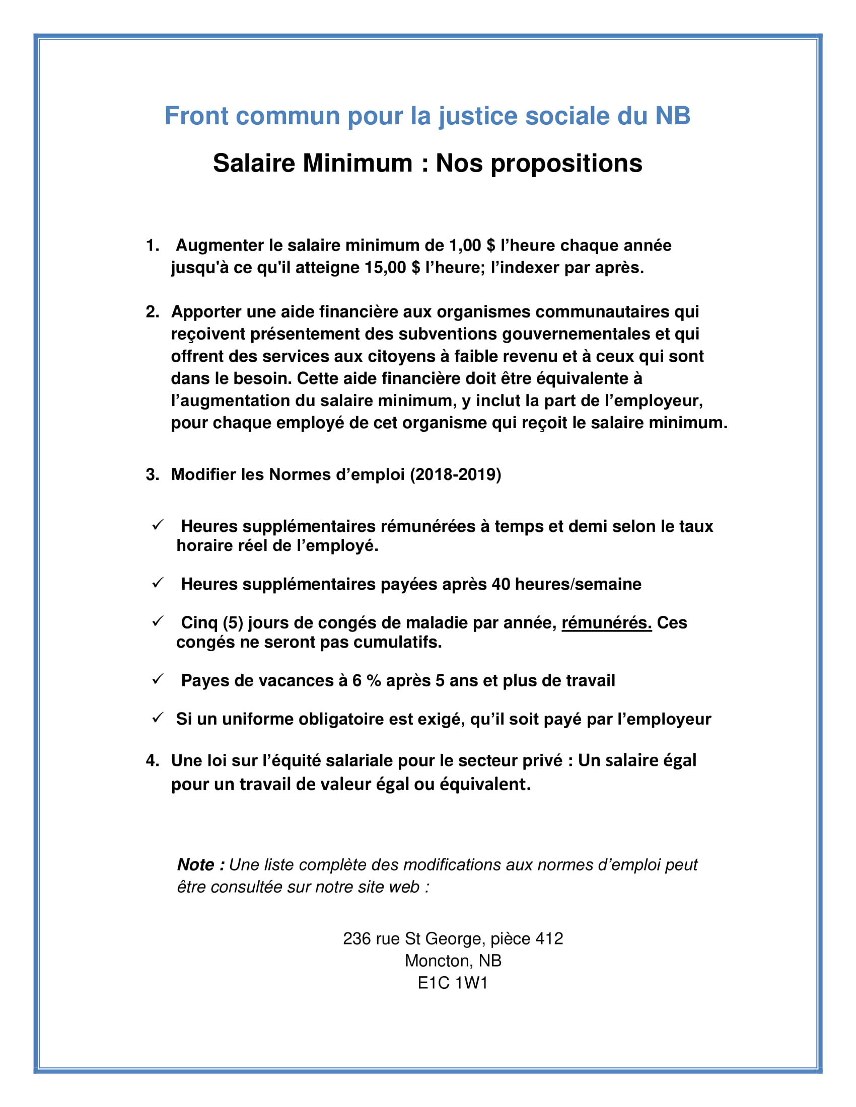 1 page d'information. Salaire minimum. Propositions